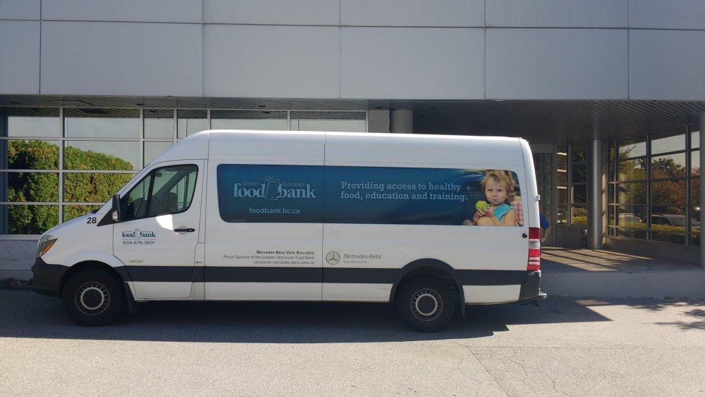 Greater Vancouver Food Bank Truck delivering donation boxes to our Vancouver Office.