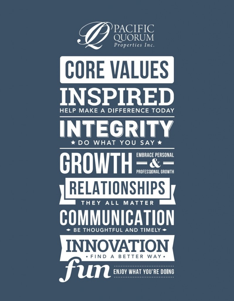 PACIFIC QUORUM'S CORE VALUES i) INSPIRED - Help make a difference ii) INTEGRITY - Do what you say iii) GROWTH - Embrace personal and professional growth iv) RELATIONSHIPS - They all matter v) COMMUNICATION - Be thoughtful and timely vi) INNOVATION - Find a better way vii) FUN - Enjoy what you do